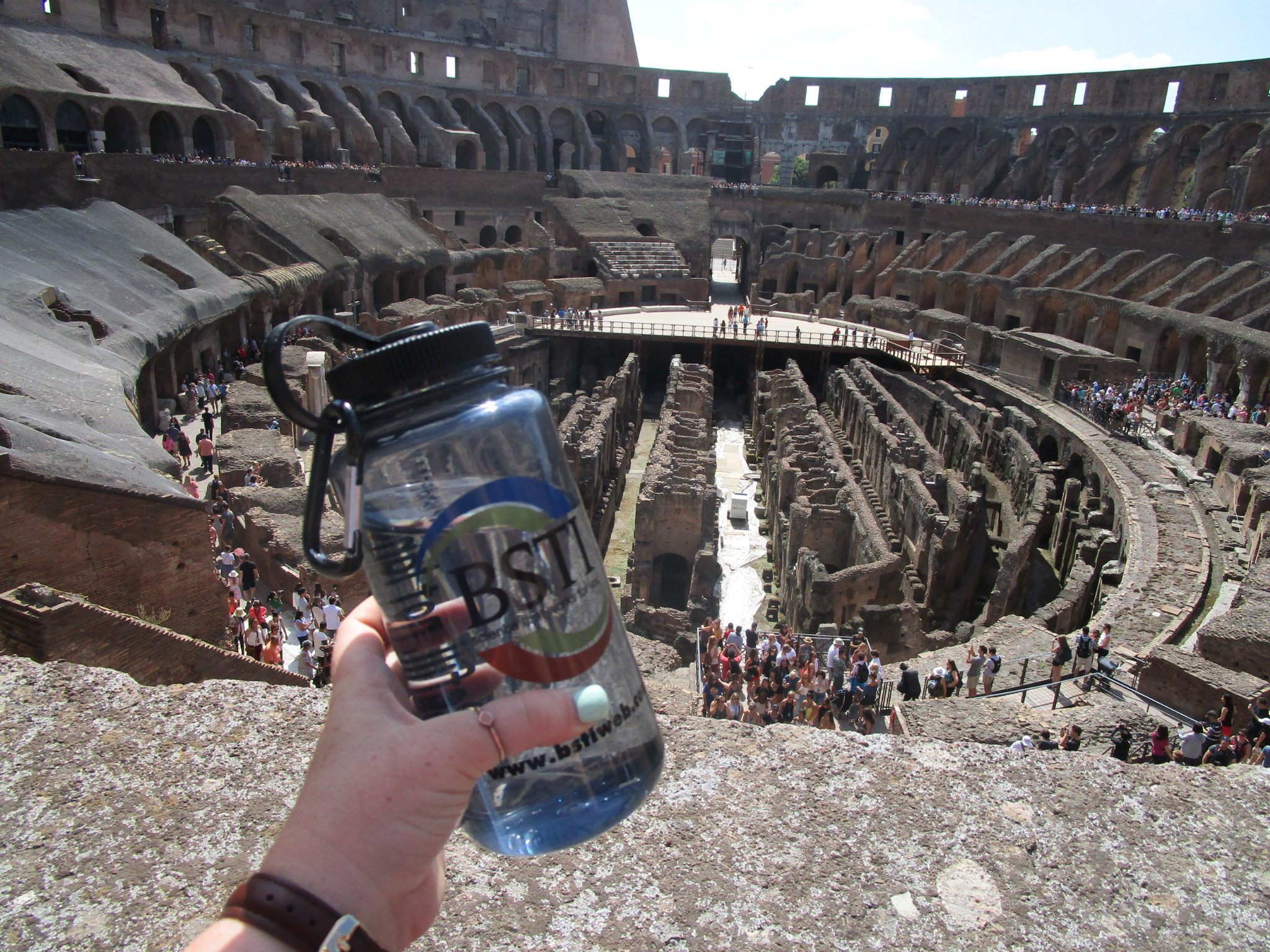 Observing the inside of the Colosseum in Rome, Italy