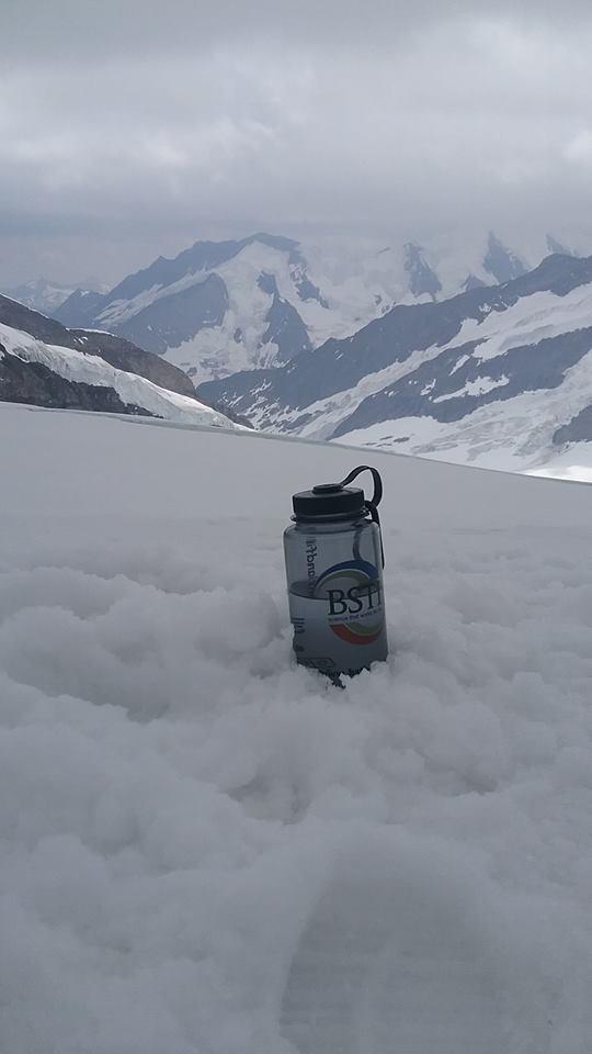Sitting atop Mt. Jungfrau in Switzerland